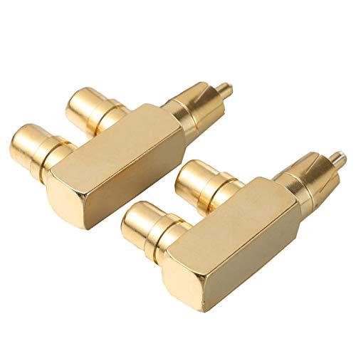 MILISTEN 2 Adaptadores Divisores RCA Macho a 2 RCA Hembra Ángulo Recto Conector Adaptador Divisor RCA
