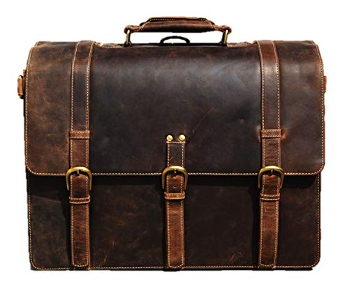 Urban dezire 17 Inch Genuine Leather Briefcase Satchel Shoulder Messenger Rugged Vintage Laptop Bag