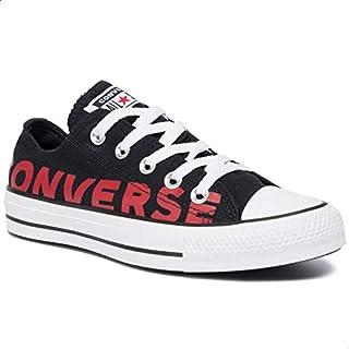 حذاء رياضي قماش برباط وشعار جانبي مطبوع بنعل مختلف اللون للجنسين من كونفرس