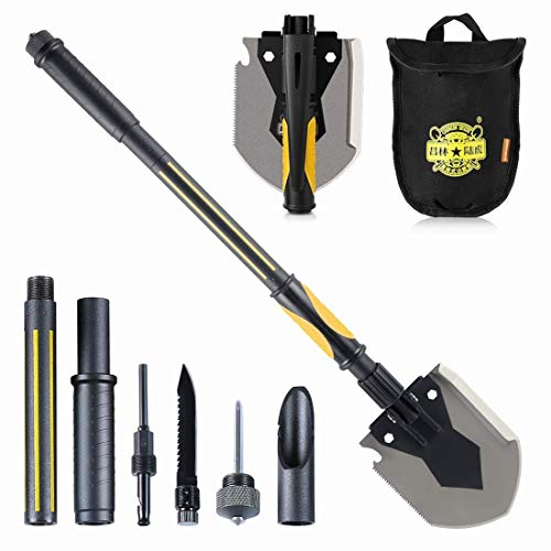 OutShovel Military Survival Folding Shovel for Outdoor, Camping, Hiking, Backpacking, Fishing, Gardening, Hunting, Snow-Removing, Tactical Army Surplus Multitool, Car Emergency Spade (Large)