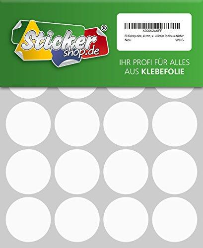 80 Klebepunkte, 40 mm, weiß, aus PVC Folie, wetterfest, Markierungspunkte Kreise Punkte Aufkleber