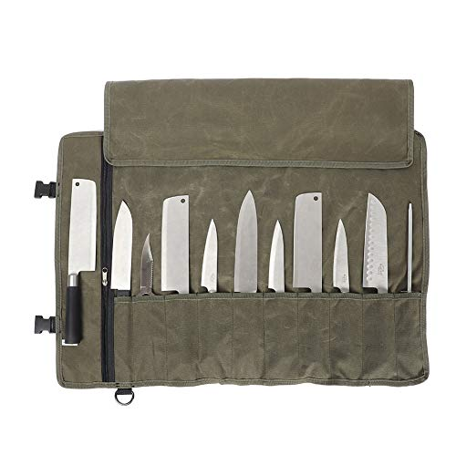 Chefs Knife Bag(11 Slots), Knife Roll for Kitchen Knife Tools Up To 18.8, Heavy Duty Waxed Canvas Japanese Knife Set Case, Portable Travel Tool Roll Pouch for Meat Cleaver, Knife Sharpener