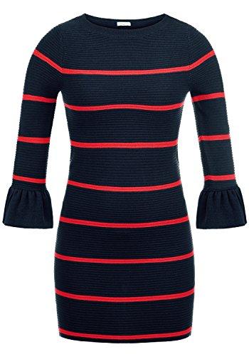 ONLY Rike Damen Strickkleid Feinstrickkleid Kleid Mit Rundhals Und Volant-Ärmeln, Größe:L, Farbe:Sky Captain/Stripes High Risk Red
