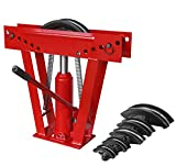 BIG RED T31202 Torin Hydraulic Pipe/Tube Bender with Adjustable Rollers and 6 Cast Iron Dies, 12 Ton (24,000 lb) Capacity, Red