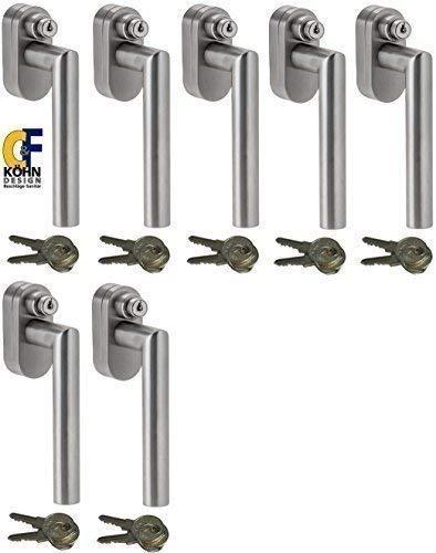 Abschließbarer Fenstergriff L-Form, Sicherheitsklasse ES2 geprüft, Edelstahl matt - Stiftlänge 35 mm, im Set 7 Stück alle gleichschließend mit insgesamt 14 Schlüssel