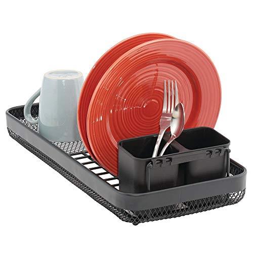 mDesign Escurridor de platos con cubertero extraíble – Bandeja escurreplatos para encimera o fregadero – Moderno escurridor de cubiertos y platos de metal con 6 ranuras – negro