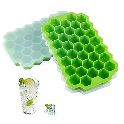 2 PCS Premium Ice Cube Trays, AUSSUA Silicone Ice Cube Molds with Sealing Lid, 74-Ice Trays, Reusable, Safe Hexagonal Ice Cube Molds, for Chilled...