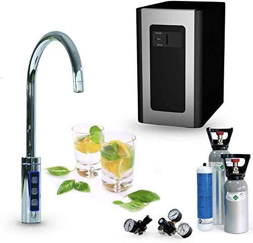 SPRUDELUX Blue Diamond Système d'eau potable avec robinet supplémentaire 3 voies et bec en C avec unité de filtration Machine à gazéifier professionnelle pour usage domestique. avec cylindre de 425g