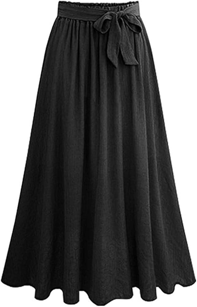 Lghxlxry Women's Casual High Waist Pleated A Line Ruffle Swing Flowy Chiffon Skirt