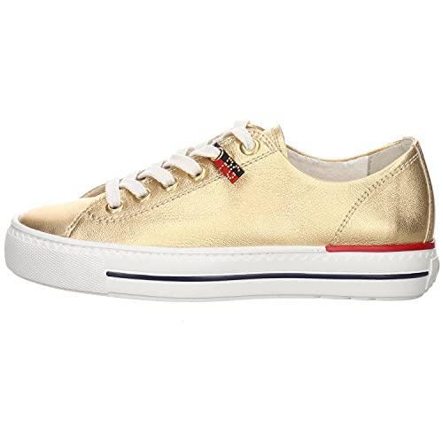 Paul Green Damen Sneaker Leder gold Gr. 38,5
