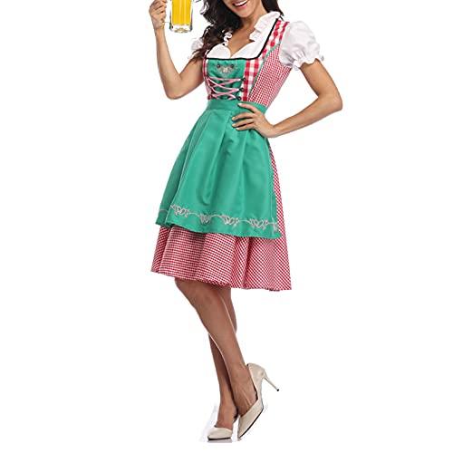PDYLZWZY Disfraz de Oktoberfest para mujer, vestido tradicional bávaro, 3 piezas, verde claro, XS