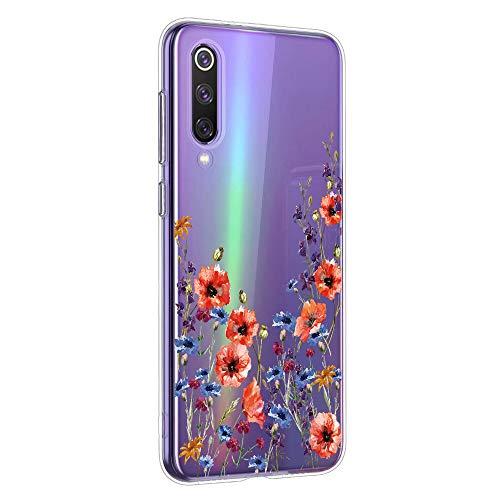Oihxse Mandala Motif Case Compatible pour Huawei Honor 8A Coque Transparente Silicone TPU Souple Protection Etui Ultra Slim Mehndi Floral Datura Dentelle Housse Bumper (A12)