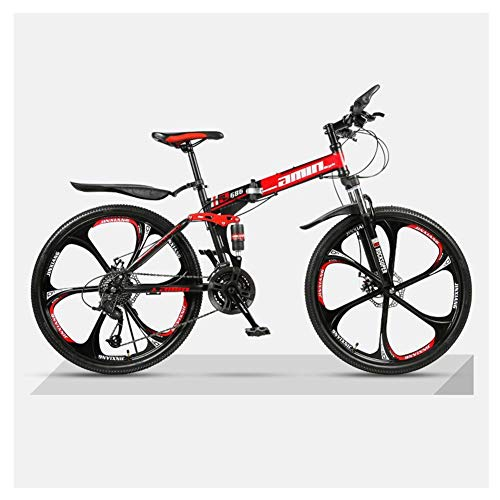 COSCANA 26' Bicycle Mountain Bike 21-27 Speed Bicycle Folding Mountain Bike 17' Frame Full Suspension Mountain Bike 6 Spoke Wheels BicycleRed-21 Speed