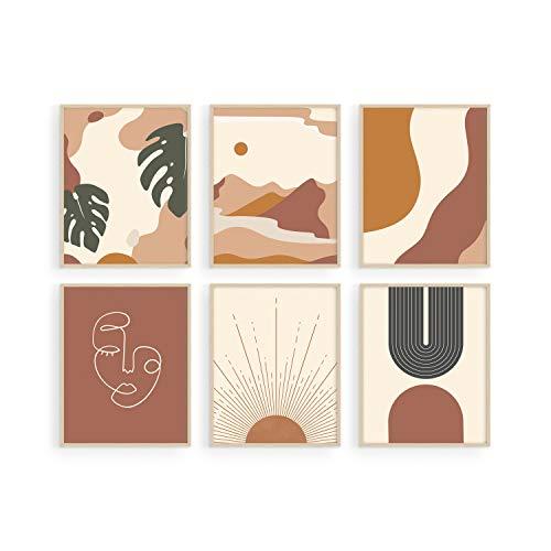Haus and Hues Boho Prints Neutral Wall Art - Set of 6 Boho Art Prints Mid Century Modern Wall Art | Boho Prints Wall Art Boho Home Decor Boho Prints for Wall Boho Wall Decor | UNFRAMED (8x10)