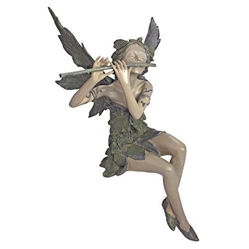 Photo of Design Toscano Fairy of the West Wind Sitting Garden Statue, 48.5 cm, Polyresin, Two Tone Stone
