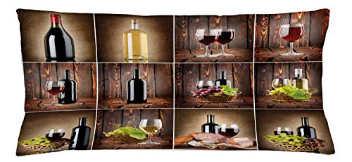 Ambesonne Wine Throw Pillow Cushion Cover, Wine Themed Collage on Wooden Backdrop with Grapes and Meat Rustic Country Drink, Decorative Rectangle Accent Pillow Case, 36' X 16', Brown Black