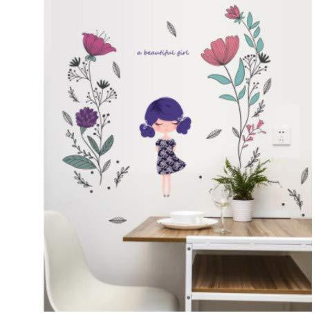 TTBH Fashion Beautiful Girl Wall Sticker Baby Girls Bedroom Decor Flower Door Stickers Kids Birthday Gifts