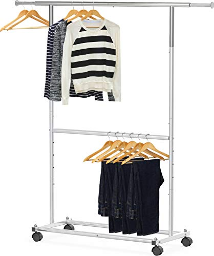 Simple Houseware Double Rod Garment Rack, Silver