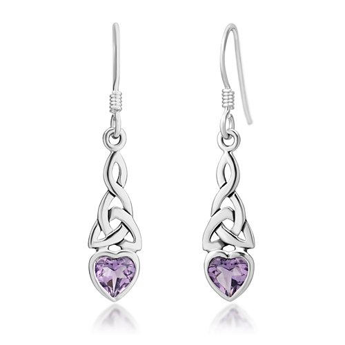 925 Sterling Silver Celtic Knot Purple Amethyst Gemstone Heart Drop Dangle Hook Earrings
