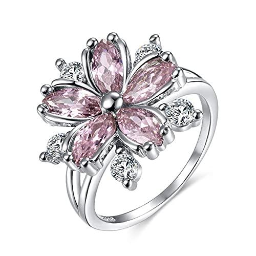ZYYXB Anillos de promesa para niña, anillo de flores, anillo para mujer, anillo de flor, anillo de diamantes de imitación, rosa No9