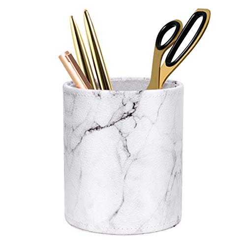 WAVEYU Pen Holder, Cup for Desk Marble Pattern Pencil Holder for Adults Kids Luxury Leather Desk Organizer Makeup Brush Holder Ideal Gift for Office, Classroom, Home, Marble