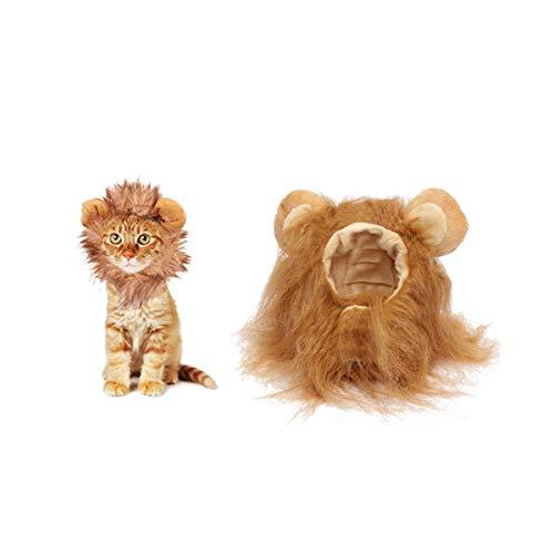 Disfraz de Halloween para mascotas, sombrero de melena de león para gatitos cachorros perros ajustable lavable cómodo pelo de león Halloween Navidad fiesta de Pascua actividad