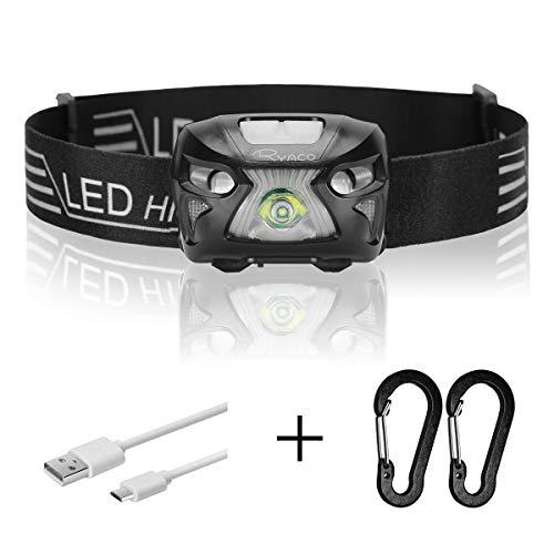 Ryaco Lampada Frontale LED USB Ricaricabile 1200 mAh, Lampada Testa IPX4 4 modalità Sensore Movimento, Torcia Frontale 300lm 24h Durata Ideale per Running, Pesca, Campeggio, Trekking, Ciclismo (Nero)
