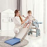 HAPPYMATY Tobogán infantil para niños pequeños, plegable, con dinosaurio, para bebés a partir de 10 meses, 115 cm, color azul