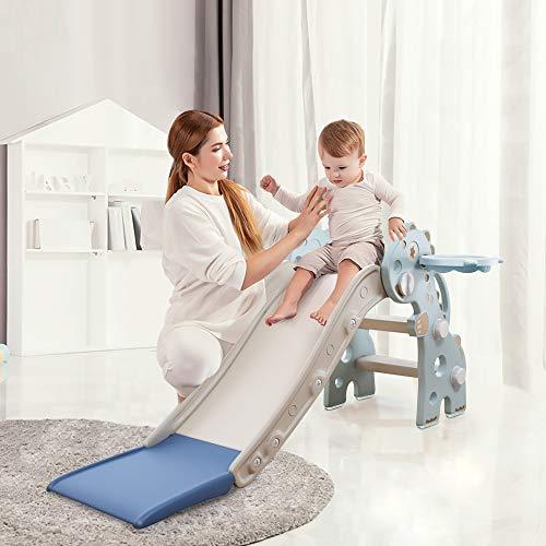 HAPPYMATY Kinderrutsche Mini Rutsche für Kleinkinder Rutsche Indoor klappbar Dinosaurier Rutsche für Babys ab 10 Monate 115cm Rutschbahn Blau