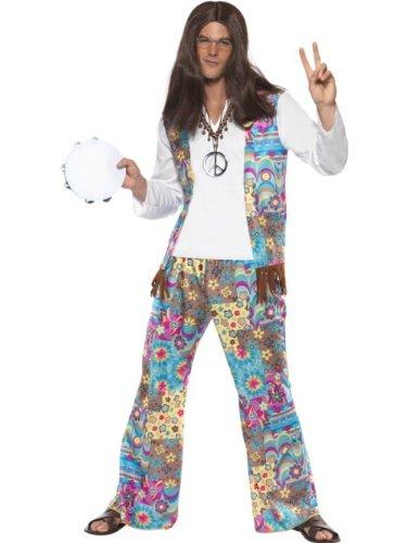 Schicker Hippie Kostüm Oberteil mit angesetzter Weste Hose und Haarband, Medium