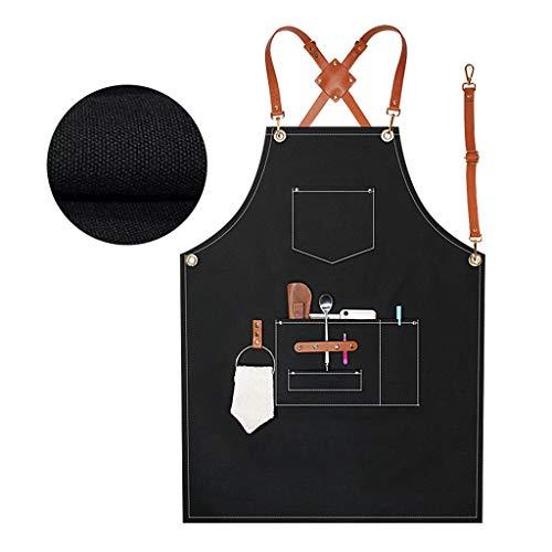LINhuahua Delantal unisex de tela, impermeable, resistente al aceite, con bolsillos para cocina, jardín, carpintería, pintura, etc. Ajustable
