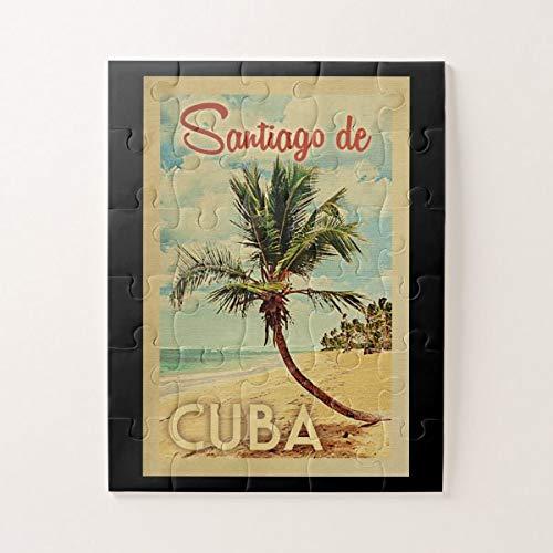 Santiago De Cuba Palmera Vintage Viajes Rompecabezas Rompecabezas 1000 piezas, Desafiantes y educativos, Rompecabezas de pintura abstracta para niños y adultos