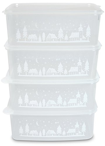 MiraHome Keksdosen Plätzchendose 4er Set rechteckig 2,5l transparent mit Winterdorf-Design Austrian Quality