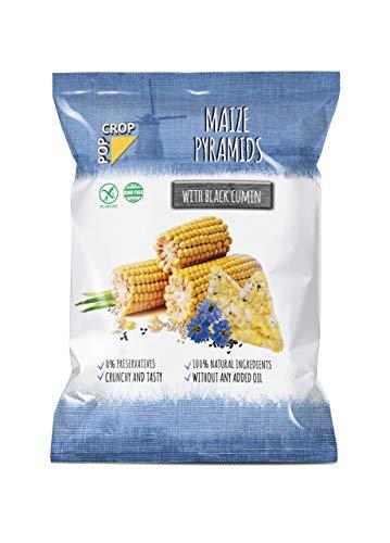POPCROP Pyramids Maïs met zwarte komijn, 10 x 80 g | Knapperige snack gemaakt van een mix van granen | Koolhydraatrijk, vetarm, glutenvrij, veganistisch | Gemaakt zonder olie | Allergenenvrij