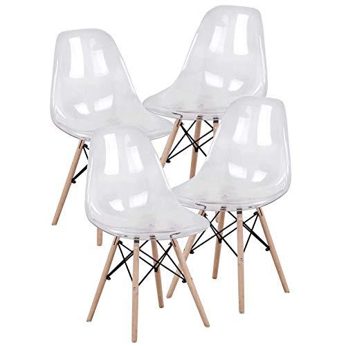 MUEBLES - Juego de 4 sillas de comedor de mediados de siglo moderno, de plástico transparente, con patas de madera para comedor, dormitorio, sala de estar, sillas montadas lateralmente. blanco