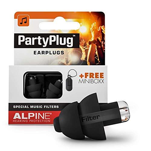 Alpine PartyPlug Oordoppen voor feesten, muziek, festivals, disco en concerten - Voorkomt gehoorschade - Hoge muziekkwaliteit + sleutelhanger - Hypoallergeen materiaal - Herbruikbaar - Zwart