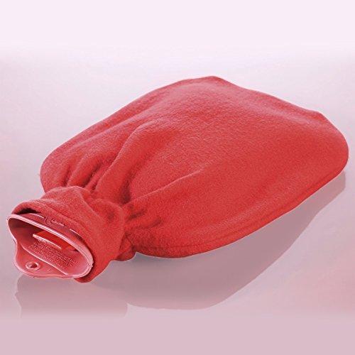 Wärmflasche mit Fleecebezug, 2,0 Liter (rot)
