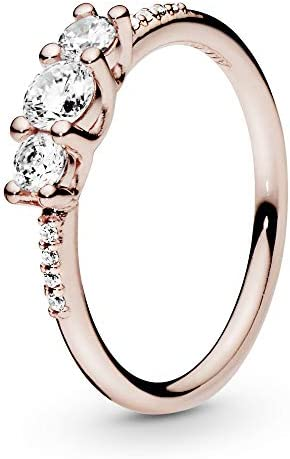 Pandora Jewelry Clear Three Stone Cubic Zirconia Ring in Pandora Rose Size 7 product image