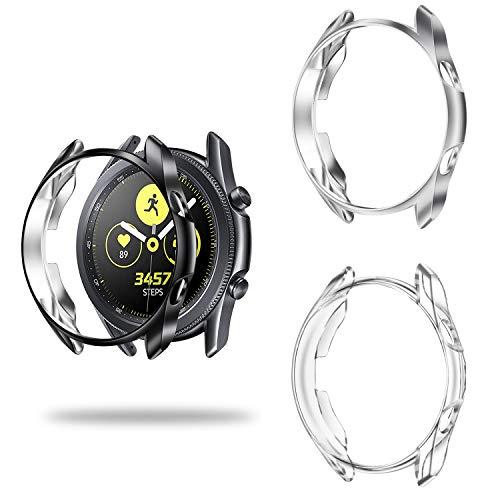 Fintie Hülle kompatibel mit Samsung Galaxy Watch 3 45mm Smart Watch - [3 Stück] Ultra-Dünn Leichte Polycarbonat Schutzhülle Schutz Gehäuse Abdeckung, Schwarz+Transparent+Silber