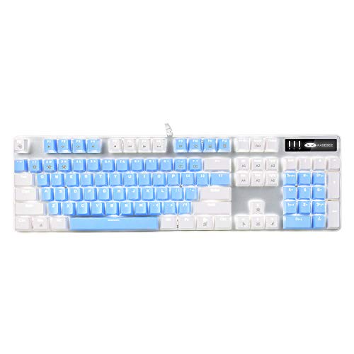 Mechanical Gaming Keyboard, MageGee 2020 New Upgraded Blue Switch 104 Keys White Backlit Keyboards, USB Wired Mechanical Computer Keyboard for Laptop, Desktop, PC Gamers(White & Blue)