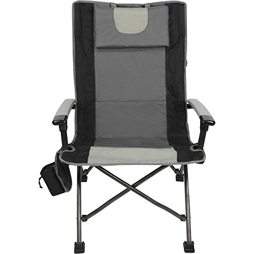 Ozark Trail High Back Outdoor Chair with Head Rest, Cup Holder and Adjustable Feet, Black