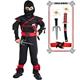 Kids Ninja Costume Halloween Costumes for Boys Ninja Toys with Ninja Foam Accessories 3-10 Year Old Boys Dress up Best Gifts Black