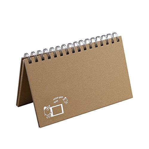 VORCOOL Mini Album Kalender Sofortbildkamera Fotoalbum spirale Fotoalben Schreibtisch Scrapbook Album DIY Foto für 86 x 54MM Bild (Vogel-Muster)