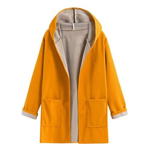 TOPKEAL Damen Jacke Mantel Herbst Winter Lockerer, Schmaler Cardigan-Wollmantel Sweatshirt Steppjacke Kapuzenjacke Hoodie Pullover Outwear Coats Tops Mode 2020 (Gelb, L)