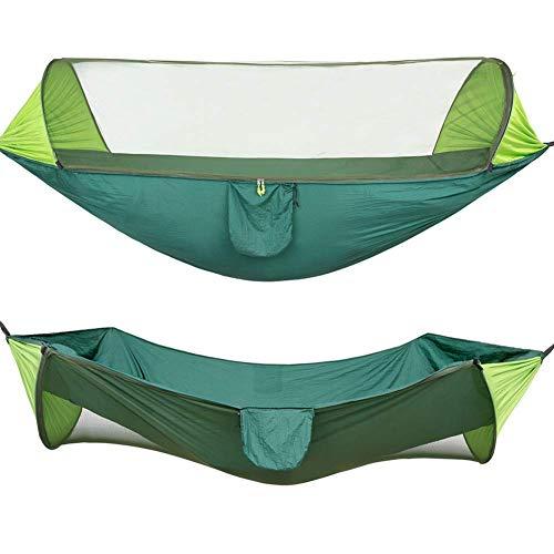 Camping Hammock con Mosquitero Ligero Ligero Doble 290 * 140 cm Portátil con Haa de Viaje Al Aire Libre para Camping Senderismo Mochilero Negro con transporte Gymqian/Verde oscuro