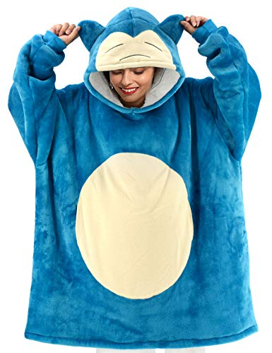 vavalad Snorlax Wearable Blanket Sweatshirt Sherpa Oversized Hoodie TV-Blanket with Sleeves and Pockets for Adults Men Women Teens One Size Fits All