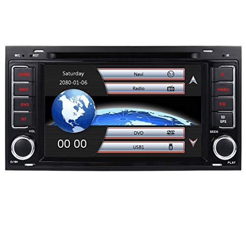 Autoradio Coche Radio 7 Pulgadas 2 DIN GPS Radio Compatible con VW Volkswagen Touareg T5 Multivan California con CD Reproductor de DVD Bluetooth Pantalla Táctil Video USB EU Map+Cámara de Reversa