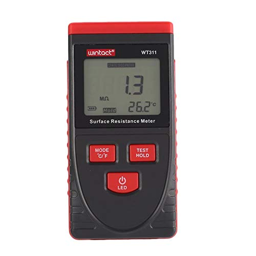 WINTACT WT311 Antistatischer Oberflächenwiderstand-Messgerät Handheld-Erdungsmessgerät Datenhaltefunktion LCD-Display