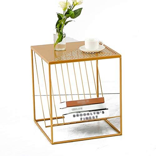 TINGTING Table d'appoint basse métal fer creux art carré coin chambre chevet grand petit deux tailles (Couleur : Or, taille : B-S)