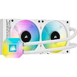 Corsair iCUE H100i ELITE CAPELLIX Sistema di Raffreddamento a Liquido per CPU, Testata della Pompa RGB ad Elevate Prestazioni, 33 LED RGB CAPELLIX Luminosi, 2 Ventole PWM ML RGB da 120 mm, Bianco